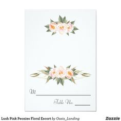 Lush Pink Peonies Floral Escort CardAn arrangement of lush pink watercolor painted peonies adorns this table place card. It is part of a matching collection of wedding products for your special day. Note: these cards arrive flat and you will need to score and fold them in half in have to use as tent cards. You can also take them to a local print shop and have then fold the cards for you. The reverse side of the card has a thin dotted line across the middle to guide you in folding.