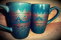 Hand-painted mehndi coffee mugs.  Chai, anyone?  www.etsy.com/behennaed  www.facebook.com/behennaed