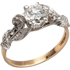Pre-owned Edwardian 0.84 Carat Diamond Gold Platinum Engagement Ring ($5,900) ❤ liked on Polyvore
