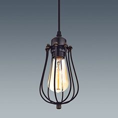 YOBO Lighting Industrial Edison Hanging Lamps Oil Rubbed Bronze Wire Caged 1light Mini Pendant Lights >>> See this great product.