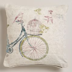 Bike with Birdcage Recycled Tarp Throw Pillow at World Market Basement Inspiration, Hearth And Home, How To Make Pillows, Hanging Lanterns, Throw Cushions, Bird Cage, Wood Design, Floor Mats, Decorating Your Home