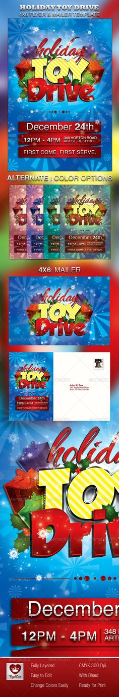 Holiday Toy Drive Flyer & Mailer  #GraphicRiver        This Holiday Toy Drive Flyer & Mailer Template is customized for any winter, or holiday celebration that needs a creative modern marketing package. It can be used for any event, youth groups, advertisements, promotional pieces etc. This file is easy to customize and are print ready. All layers in the files are arranged color coded. There are also