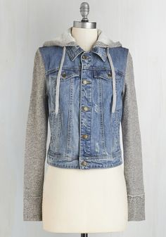 Around Downtown Jacket. For todays downtown trek, you couldnt wait to show off your casual-cool outfit, which youve topped off with this hooded jacket. #blue #modcloth $60 got it
