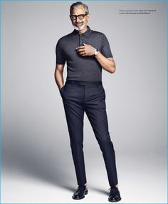 Jeff Goldblum cuts a trim figure in a fitted look from Italian fashion house Prada.