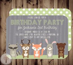 Woodland Friends Birthday Invitation, forest animal birthday invitation, forest friends, woodland animals, fox, deer, bear, rabbit, raccoon