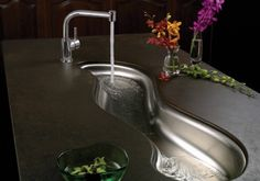Mystic Sink by Elkay love this - cool idea but it would perhaps be better if it was closer to the edge so you didn't need to bend over so far. also, it's not practical as the regular dinner plate could not fit in there. but i still like the uniqueness and quirk.