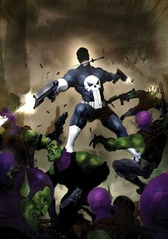 Punisher vs Skrulls by Clint Langley. Despite the costume, I really dig this.