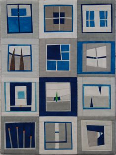 Although this is a quilt, I can see it making a great fused glass project contemporary quilt in blue & gray by Erin Wilson Quilts Colchas Quilting, Quilting Projects, Quilting Designs, Blue Quilts, Small Quilts, Mini Quilts, Grey Quilt, Quilt Modernen, Sampler Quilts