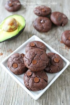 Vegan Chocolate Avocado Cookies on twopeasandtheirpod.com These cookies are divine, you will never know they are healthy!