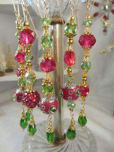 Exotic Pink Kashmiri Christmas Dangles by LaReineDesCharmes, $36.00