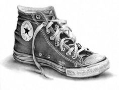 Find images and videos about converse, drawings and tennis on We Heart It - the app to get lost in what you love. Realistic Pencil Drawings, Dark Art Drawings, Pencil Art Drawings, Art Drawings Sketches, Disney Drawings, Converse Drawing, Converse Noir, Converse All, Mago Tattoo