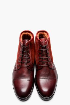 PAUL SMITH Burgundy Dip-Dyed Suede & Leather Boots