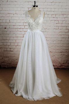 White Lace V-Neck Halter Wedding Dresss, The Church Wedding Ceremony, PW155