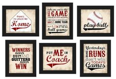 PRINTABLE Baseball Theme Home Decor Set 6pc red black