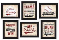 PRINTABLE Baseball Theme Home Decor Set 6pc red black