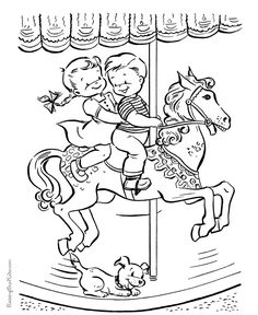 carousel ride summer coloring pages summer holidays coloring pages for kids