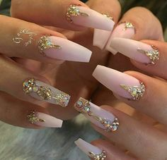 106 Beautiful Nail Art Designs To Copy Right Now - The most beautiful nail designs Cute Acrylic Nails, Acrylic Nail Designs, Cute Nails, Nail Art Designs, Nails Design, Nail Designs Bling, Gold Designs, Glam Nails, Bling Nails