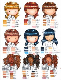 more hair combos #hair #copic I also love the fact that this tutorial also covers coloring darker skin tones, a surprisingly rare thing to find.