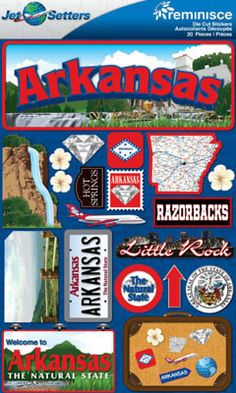 Self-adhesive layered cardstock stickers. Southern Girls, Southern Charm, Fort Smith, Arkansas Razorbacks, Little Rock, Down South, Cool Countries, Sweet Tea, Stickers