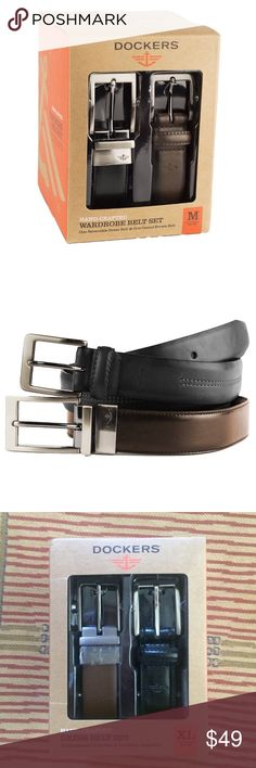 Dockers dress belt set, NIB Size xl men's dress belt set. New with tags in box. One black belt and one reversible between brown and black. Only dress belts you need for your wardrobe! Feel free to offer Dockers Accessories Belts