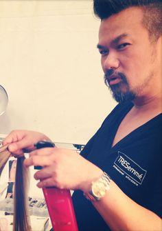 TRES Team stylist, Linh Nguyen, givin' face backstage at @Maria Ligia Bendita! #TRESSwim #MBFWSwim
