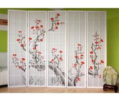 Madison 6 Panel Room Divider World Menagerie Number of Panels: 4 panels Shoji White, Mystery Room, 4 Panel Room Divider, Room Dividers, Marble Room, Shoji Screen, Golden Tree, Colorful Abstract Art, Room Screen