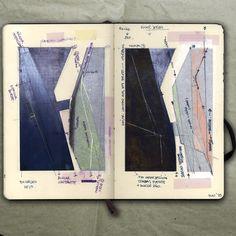 rougart drawing: RIVER SERIES III, IV (Study on steel plates)_Collage, 2015_Mariasun Salgado