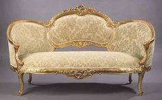 1077: Louis XV-Style Giltwood Salon Suite : Lot 1077