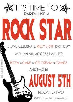 Printable Rock Star Guitar Birthday Party by PrintYourHeartOut, $9.50