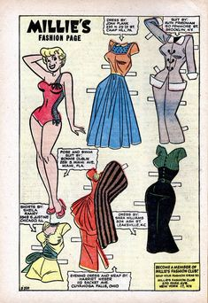 Millie the Model Issue - Read Millie the Model Issue comic online in high quality Barbie Clothes, Barbie Dolls, Comic Book Paper, Millie The Model, Christmas Paper Crafts, Animal Coloring Pages, Vintage Paper Dolls, Childhood Toys, Pretty Dolls