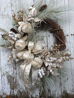 Items similar to Victorian Christmas Wreath, Silver and Gold Christmas Wreath, Elegant Christmas Wreath for Door on Etsy Victorian Christmas Decorations, Decoration Christmas, Xmas Decorations, Elegant Christmas Decor, Classy Christmas, Christmas Home, Christmas Holidays, Christmas Crafts, Christmas Ornaments