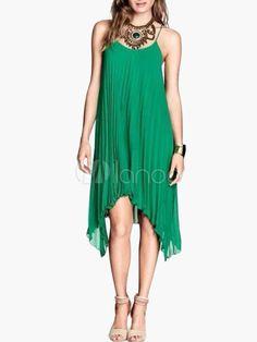 Robe d'été verte en chiffon unicolore plissée à bretelles - Milanoo.com