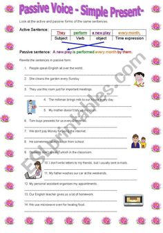 It is a worksheet to practice Passive Voice with simple Present tense. It includes a grammar guide part at the beginning to let the students discover the rule on their own. Hope you like it :) Grammar Practice, Grammar Lessons, Grammar Worksheets, Present Tense Verbs, Simple Present Tense, Basic Grammar, Teaching English Grammar, Presente Simple, Active And Passive Voice