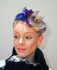 Purple and yellow fascinator with Swarovski by wengmengny on Etsy, $75.00