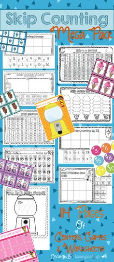 Skip Counting Mega Pack! 114 Pages of Numeracy Games, Centers and Worksheets to teach your students all about skip counting by 2s, 3s, 5s and 10s!