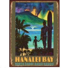 Hanalei Bay Surfing Kauai Hawaii Metal Sign | US Travel Decor | RetroPlanet.com Inspired by ancient Hawaii, this hand-crafted Hanalei Bay Sign adds color and vintage style to your decor. The sign's illustration captures the untamed beauty and power of Kauai with its vibrant colors. A must for islanders-at-heart!