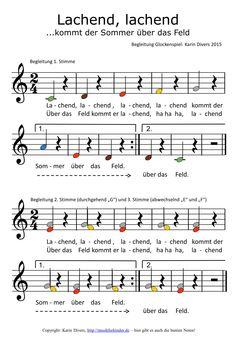 Lachend, lachend kommt der Sommer über das Feld... Bunte Noten fürs Glockenspiel (Begleitung)