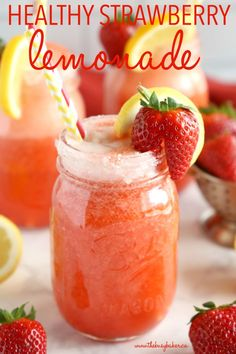 This Healthy Strawberry Lemonade is the perfect naturally-sweetened refreshing drink for summer! It's made from blended strawberries, fresh lemon juice and honey, so it's the perfect healthy refreshment for warm days and summer parties! Recipe from Healthy Lemonade, Homemade Lemonade, Healthy Drinks, Healthy Snacks, Healthy Recipes, Lemonade Drink, Delicious Recipes, Drinks For Diabetics, Sugar Free Lemonade Recipe