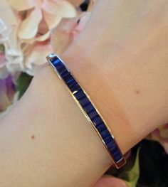 █ 18K Yellow Gold Bangle Bracelet with Blue Sapphires █ HM1208 #Bangle