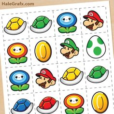 This Super Mario Brothers Memory Game and Free Printable is perfect for a party. Super Mario Birthday, Mario Birthday Party, Super Mario Party, Boy Birthday Parties, 5th Birthday, Hunting Birthday, Birthday Games, Birthday Ideas, Mario Und Luigi