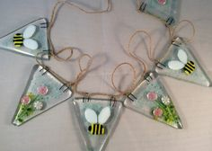 Fused Glass Bumble Bee And Flowers Bunting £22.00