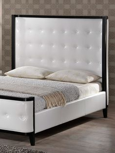 Thomas White Modern Queen Size Bed with Tufted Headboard by Design Studios  on Gilt Home