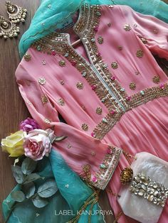 Peach Gota Patti Anarkali Suit - Source by - Pakistani Dresses Casual, Pakistani Wedding Outfits, Pakistani Dress Design, Indian Attire, Indian Wear, Indian Outfits, Muslim Women Fashion, Indian Fashion, Kurti Designs Party Wear
