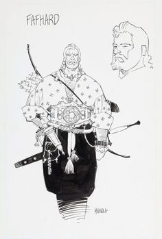 Fafhrd and the Grey Mouser pin-ups by Mike Mignola, circa 1990.