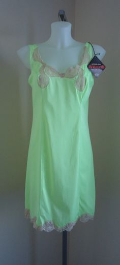 Vintage 1970s Love Lines Vibrant Green Full Slip NWT on Etsy, $49.81 CAD