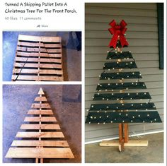 Turn an old shipping pallet into a cute Christmas decoration.