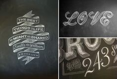 chalkboard lettering ideas. cheap/easy hack. black foam core sprayed with chalkboard paint! plus, stencil your letters on and fill in with a white sharpie or paint marker so it's more durable/lasting.