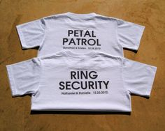 $17 Petal Patrol:) https://www.etsy.com/listing/116632961/petal-patrol-personalized-flower-girl?ref=shop_home_active_14 ................ $22 Ring Security:) https://www.etsy.com/listing/129737846/ring-security-lightweight-polo-wedding?ref=shop_home_feat_2 ................