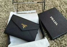 Latest Prada Saffiano Letter leather wallet BLACK