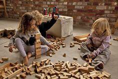 Wooden Story Blocchi in legno naturale + Sacco di Cotone – 100 Pezzi (stimolano la creatività e risvegliano l'immaginazione!)